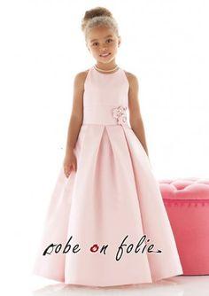 Robe demoiselle d\'honneur enfant élégant pas cher en satin de couleur rose