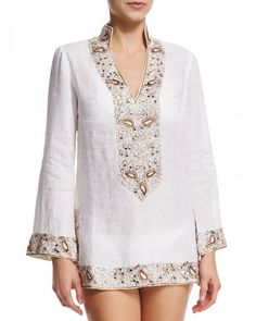 Florabella+Viceroy+Beaded+Linen+Short+Coverup+Tunic+White+|+Top,+Cloak+and+Clothing
