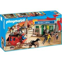 """Playmobil Western Set by Playmobil. $297.97. Ages 4 and up. A Playmobil Micro set. Includes two non-magnetic standard figures. All miniature figures and animals are magnetic. Open and start playing!  In a handy pocket box. All figures and animals are magnetic.  Carry it along.  The Pirate microworld makes a great """"toy"""" for the playmobil children in your Dollhouse or Castle!WARNING: Because of the very small pieces and tiny magnets, this product poses a hazard to childr..."""