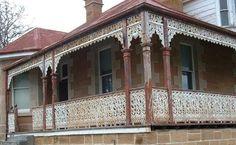 Cast Iron Birdsville design Verandah and balcony lacework ready to be restored. Iron Balcony, Balcony Railing, Australian Homes, Western Australia, Old Houses, Wrought Iron, Cast Iron, Gazebo, Restoration