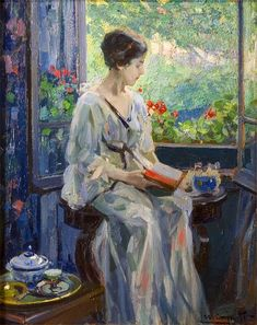 A Woman Reading Seated By an Open Window. Ulisse Caputo (Italian, 1872-1948).