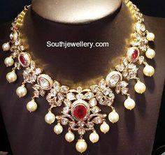 Flat Diamond Necklace and Chaandbalis Set
