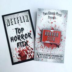 Horror flix - Netflix enamel pin lapel pin pin flair two ghouls press