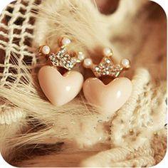 Heart Earring - Simple Sweet Love Heart Crown Gold Plated