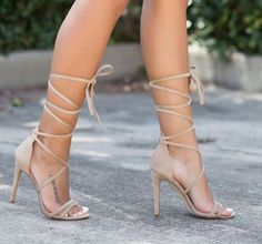 See just how your favorite boulevard style heavens choose jeans by using pumps and get all the necessary ideas you really need for your own personal next look. Tan Strappy Heels, Schnür Heels, Prom Heels, Cute Heels, Tan Lace Up Heels, Tan High Heels, Burgundy Heels, Floral Heels, Stilettos