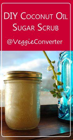 DIY Coconut Oil Sugar Scrub | @VeggieConverter essentialoils diybeauty coconutoil
