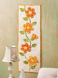Applique Wall Hanging Quilt Patterns Peachy Keen Wall Hangingi Love These Fabric Flowers Wall Hanging Quilt Patterns Seasonal Small Wall Hanging Quilt Patterns Easy Quilts, Small Quilts, Mini Quilts, Hanging Quilts, Quilted Wall Hangings, Table Runner And Placemats, Quilted Table Runners, Flower Quilts, Fabric Flowers