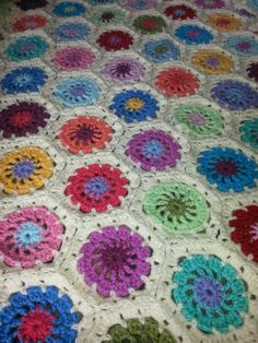 A reader's stunning Granny Hexagon blanket from a pattern in Granny Squares by Susan Pinner http://www.thegmcgroup.com/pc/viewPrd.asp?idproduct=5019&idcategory=0