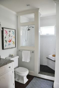 DIY Farmhouse Bathroom Remodel Plans for Sale! — Teaselwood Design - DIY Farmhouse Bathroom Remodel Plans for Sale! — Teaselwood Design You are in the right place abou - Small Bathroom With Shower, Window In Shower, Tiny House Bathroom, Shower With Half Wall, Small Master Bathroom Ideas, Simple Bathroom, Dyi Bathroom, Bathroom Layout, Design Bathroom