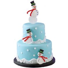 Snowman Summit Cake - Everywhere you look on this 2-tier cake you see happy snowmen coming and going. Fondant covered cake with fondant stars and snowmen with fondant accessories. A beautiful creation to make ahead so you can enjoy your guests.
