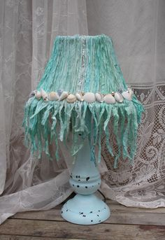 Shabby Chic Lamp Beach Cottage Bedroom by upcyclesisters on Etsy, Sold