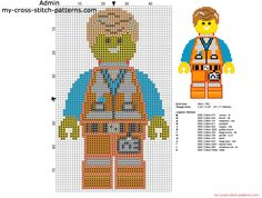 Emmet The Lego Movie character free cross stitch pattern