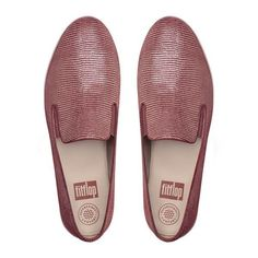 FitFlop Superskate™ Lizard-Print Suede Loafers (975 GTQ) ❤ liked on Polyvore featuring shoes, loafers, spice, fitflop, suede slip on shoes, slip on loafers, loafers moccasins and suede shoes