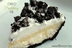 Oreo Pudding Pie -1 Oreo crust, 1 sleeve crushed Oreo Cookies, 1 (8 oz) cream cheese, 1/2 cup margarine/butter, 1 cup powdered sugar, 1 large tub cool whip, 1 (3 oz) box white chocolate pudding, 1 1/2 cups milk