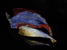 Akis Goumas - brooch  - silver, textiles, gold leaf, pigments -  https://www.facebook.com/media/set/?set=a.538990862844177.1073741841.386673304742601&type=3