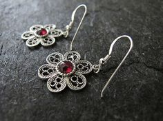 Garnet filigree silver earrings Filigree by MorSilverJewelry
