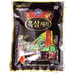 Korean Black Ginseng Jelly, Black Ginseng Extract, Size : 500g (Gram)  Red Ginseng Extract(from Korea) 0.6% Ginseng mix proportion : Red ginseng extract 100% (red ginseng body 60%, red ginseng root 40%) Imported refined sugar 15%, imported starch syrup 78.345% Starch 4.550%, Red Ginseng Flavor 0.060%, Margarine(soy bean) 0.045%, Agar 1%