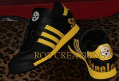 Custom Adidas Pittsburgh Steelers shoe designed on a Pre-owned platform(size6 women) by ROBcreations on Etsy