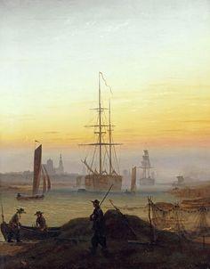 Caspar David Friedrich - Barcos en el puerto de Greifswald (1918-1820). Romanticismo. Óleo sobre lienzo de 90 x 70 cm. Alte Nationalgalerie (Berlín), Alemania.