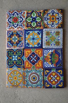 12 Mexican Talavera Tiles handmade Hand painted 2 X image 4 Tile Art, Mosaic Art, Wall Clock Sticker, Mexican Home Decor, Mexican Designs, Mosaic Crafts, Pottery Painting, Tile Patterns, Square Quilt