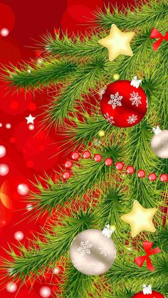 cartoon Christmas tree iPhone 6 plus wallpaper - balls, stars