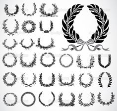 Set of highly detailed wreaths. Easy to edit.