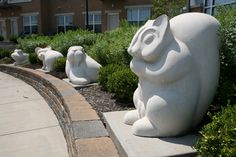 The facsimile Valleyview animal sculptures at Tremont Pointe.