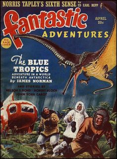 FRANK R. PAUL - art for The Blue Tropics By James Norman - April 1940 Fantastic Adventures