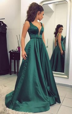Sexy Prom Dress,Dark Green Prom Dress,A Line Prom