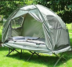 Outdoor One-person Folding Dome Tent Hiking Camping Bed Cot W/ sleeping bag #Outsunny