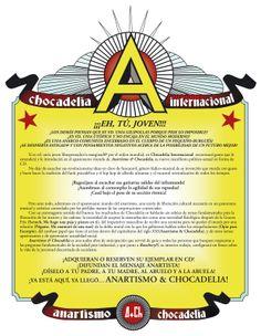 "Chocadelia Internacional - Nota promocional para ""Anartismo & Chocadelia"" (2007), texto de Lalo López, diseño y maquinación Rktr Stuidos."