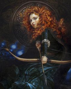 Beautiful Oil Prints of Disney Princesses by Heather Theurer -- Merida reminds me of Lily Cole here!