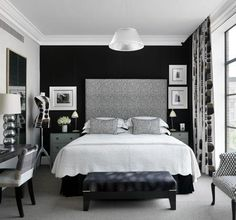 Black and White bedroom, b+w, hotel room interior