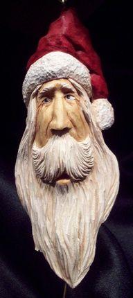 Hand Carve Old World Santa Ornament, Folk Art (193)