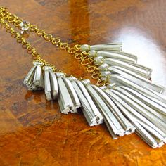 Metallic Gold Necklace/ Leather Tassel Necklace/ by ChandraJewelry