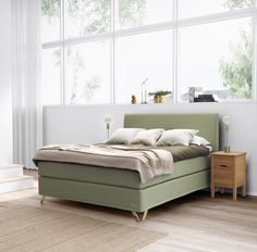 Jensen Supreme Continental bed, Fairy Green