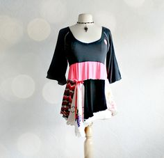 Black Tunic Top Hot Neon Pink Gypsy Shirt Bohemian Clothing Reconstructed M