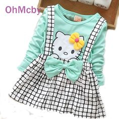 New Spring Summer KT Cartoon Baby Girls Dress Long Sleeve Baby Girl Princess Dress Kid Party Clothing Baby Strap Plaid Dress
