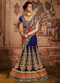 Blue Color Beautiful Bridal Lehenga Saree With Perfect Hand Embroidery Work Lehenga Style Saree, Blue Lehenga, Lehenga Choli Online, Buy Sarees Online, Bridal Lehenga, Wedding Sarees, Blue Wedding Dresses, Indian Wedding Outfits, Indian Outfits