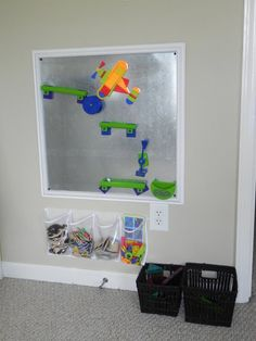 magnetic board with shoe organizer storage underneath.