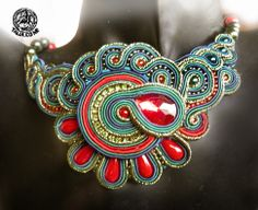 Soutache necklace in Green&Red