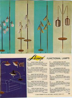1963 AD Lenox Mid Century Modern Pole Lamps Tree Ceiling Light Fixtures