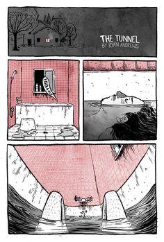 Creative Comic Strip: The Tunnel by Ryan Andrews / Graustufen und eine weitere Farbe Comic Art, Comic Books, Comic Layout, Graphic Novel Art, Mini Comic, Bd Comics, Short Comics, Comic Panels, Comic Styles