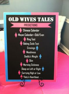 Gender Reveal Party - Old Wives Tales... Use mustache or Bows instead @Becky Hui Chan beck @Brandon Jones