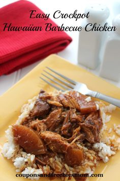 Easy Crockpot Hawaiian Barbecue Chicken for a tropical meal that will make your family beg for seconds