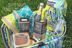 Date Night Picnic Gift Basket for Wedding or Bridal Shower