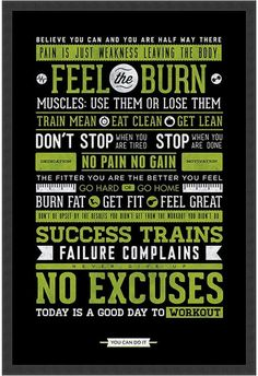 Health Motivation Amanti Art Gym - Motivational- Framed Art Print - Whether you are a fitness buff or a beginner athlete, this poster is sure to motivate you with expressions about working hard, getting fit, and feeling good. Fitness Motivation, Fit Girl Motivation, Fitness Quotes, Weight Loss Motivation, Fitness Goals, Health Fitness, Diet Quotes, Gym Fitness, Team Quotes