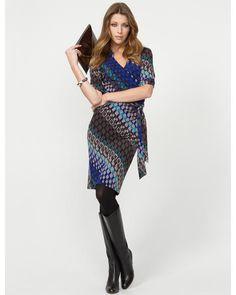 Geo Print Faux-Wrap Dress