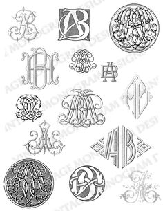 Custom collection of vintage monograms compiled from antique books and provided via Etsy seller VintageMonogram.