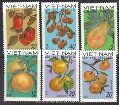 Vietnam Stamps - 1969, Sc 560-5, Fruits, MNH, F-VF by Great Wall Bookstore, Las Vegas. $4.90